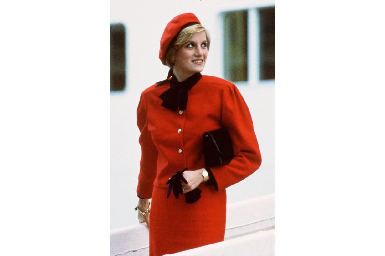 Princess Diana Wore Jasper Conran red suit at cruise liner Royal Princess in 1984