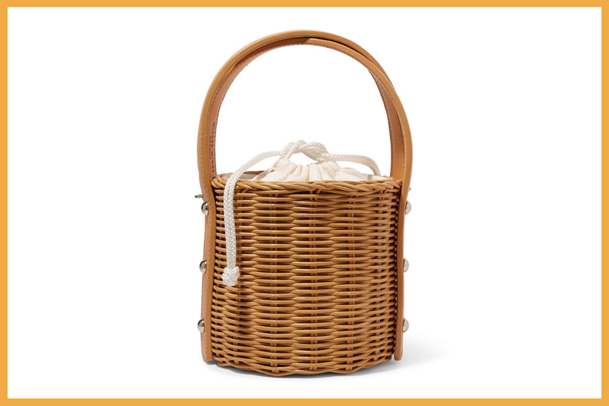 Quan Rattan and Leather Bucket Bag