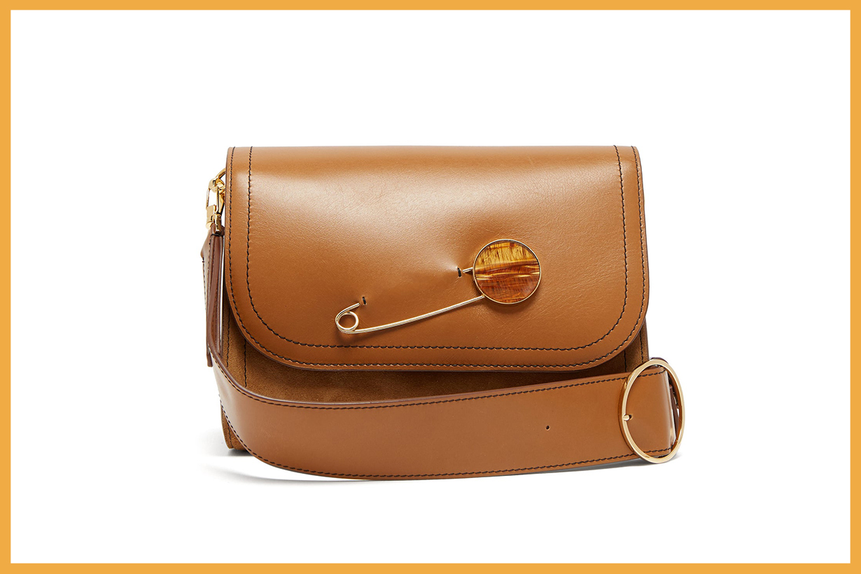 Safety Pin-Embellished Leather Shoulder Bag