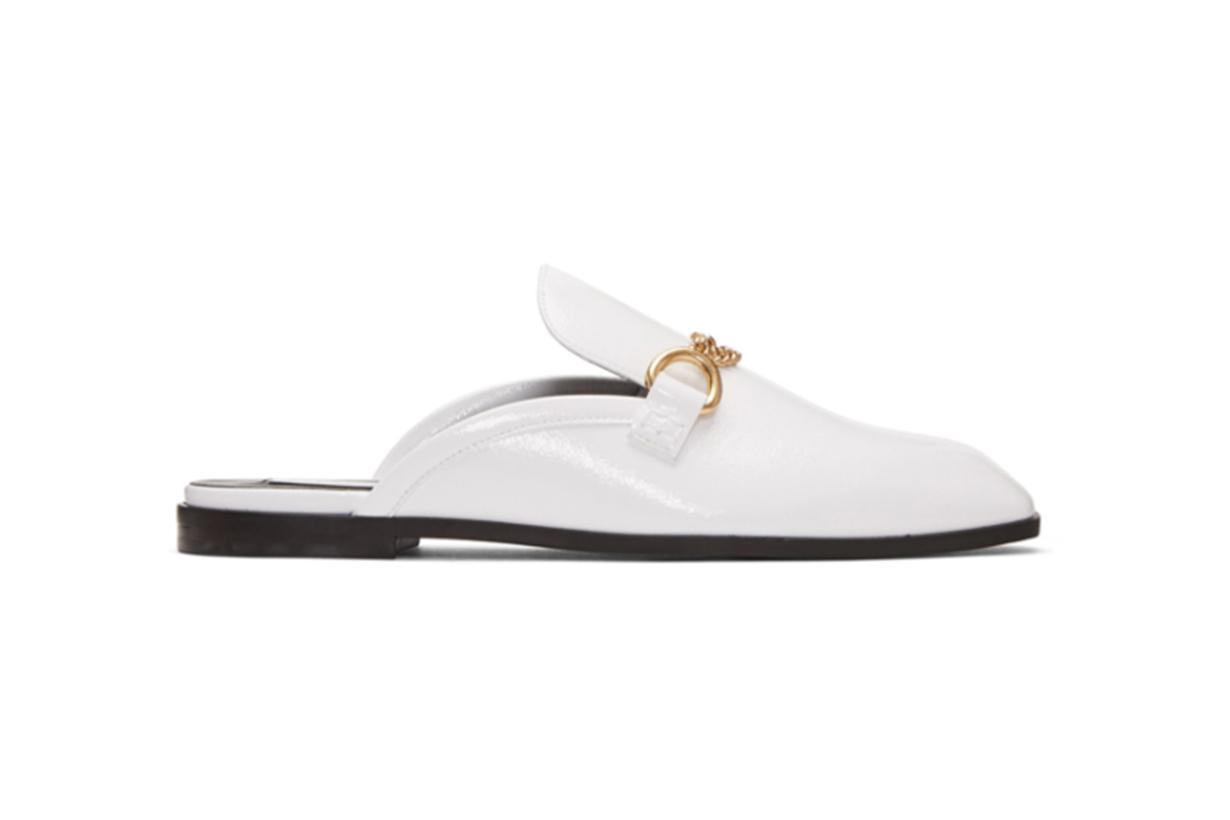 Stella McCartney White Chain Slip-On Loafers