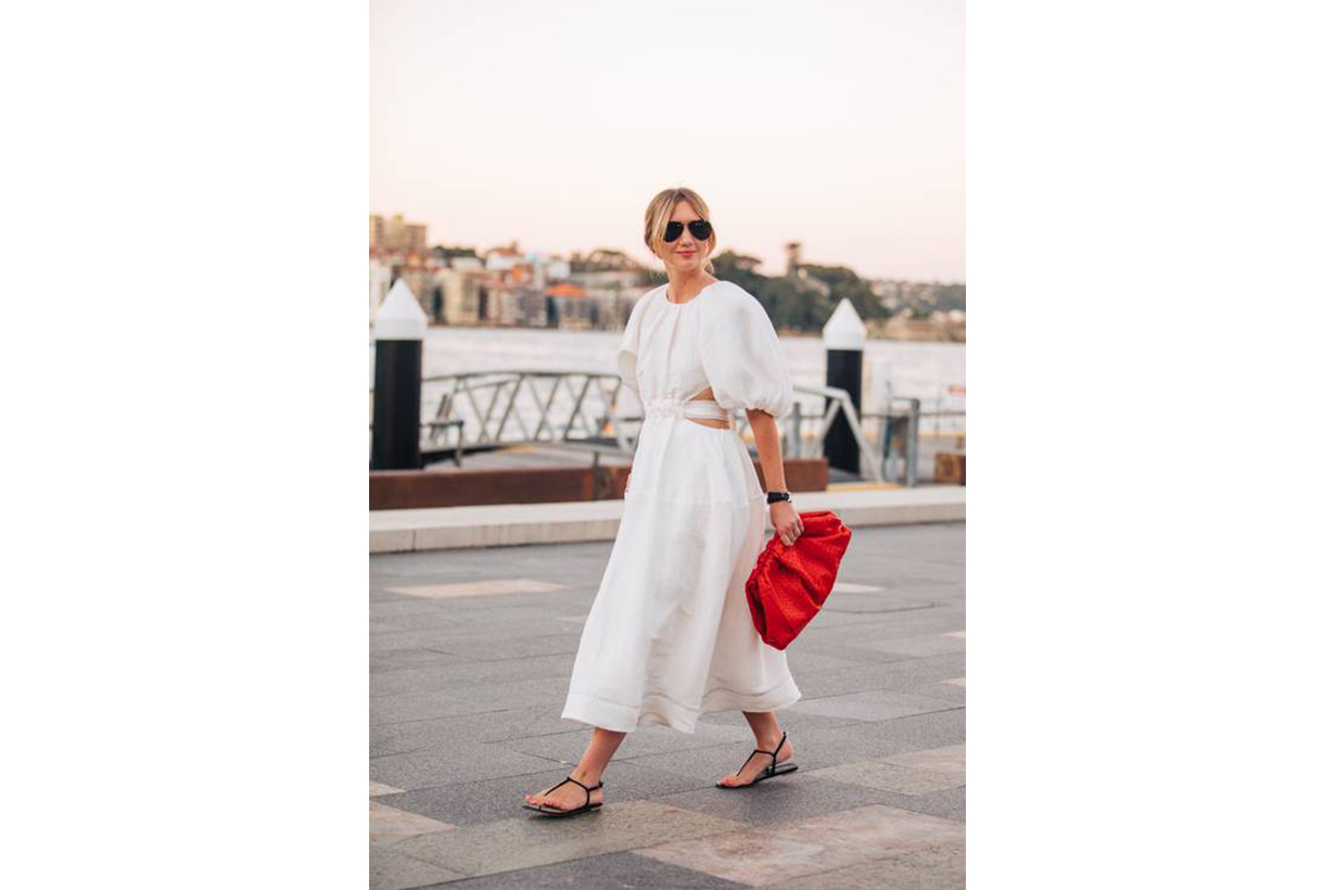White Dress Sandals Street Style