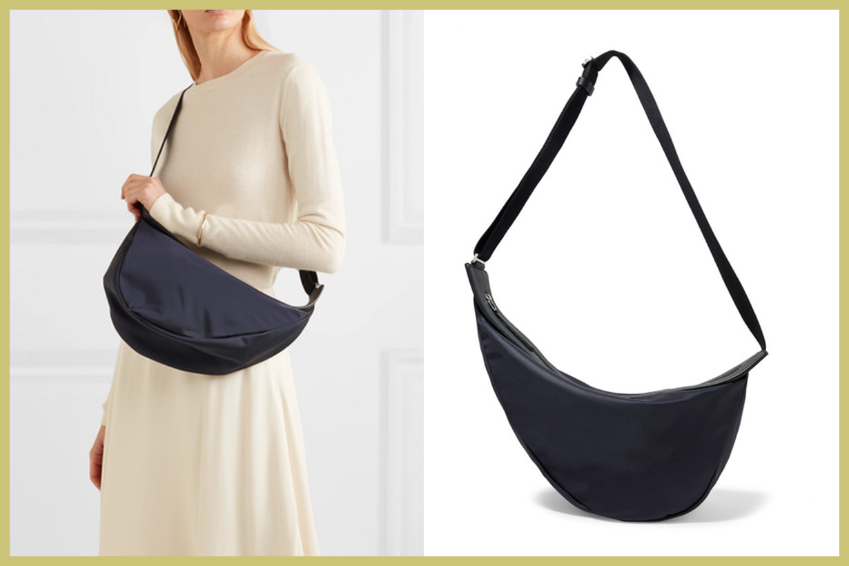 THE ROW Slouchy Banana Large Leather-Trimmed Shell Shoulder Bag