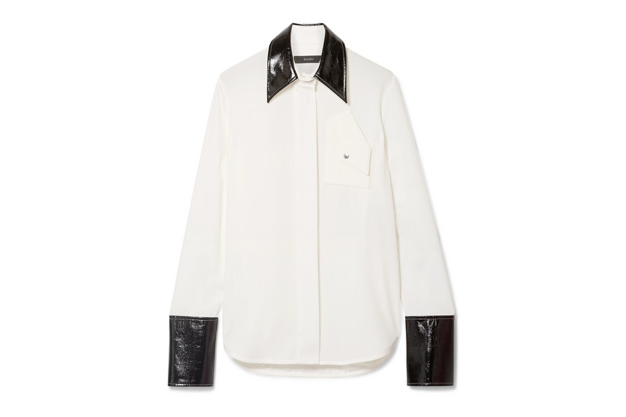 Ellery Thesis Oversized Faux Patent Leather-Trimmed Crepe Shirt