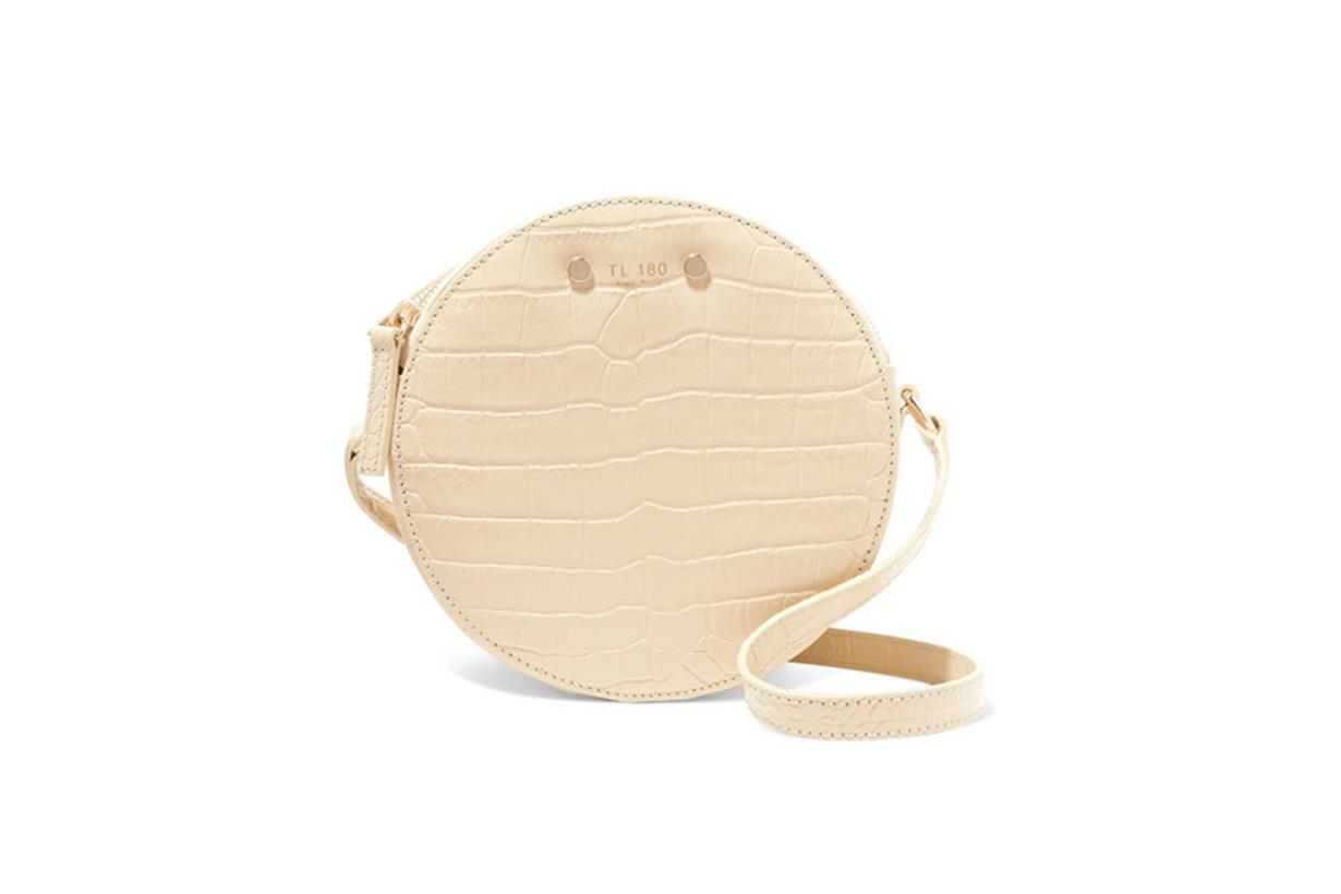 TL-180 Tambour Croc-Effect Leather Shoulder Bag