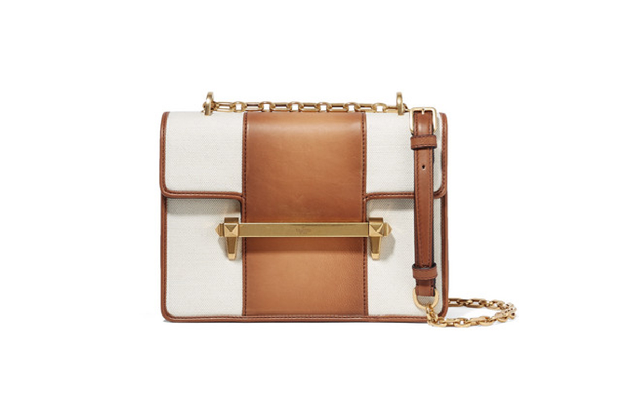 Valentino Garavani Uptown Medium Leather and Canvas Shoulder Bag