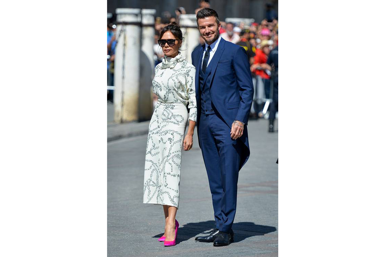 Victoria Beckham Wedding Guest White Dress Pink Pumps