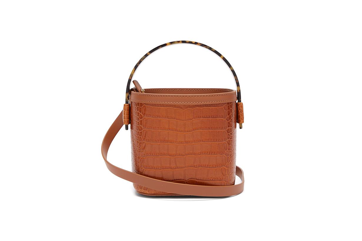 Adenia Crocodile-Embossed Mini Bucket Bag