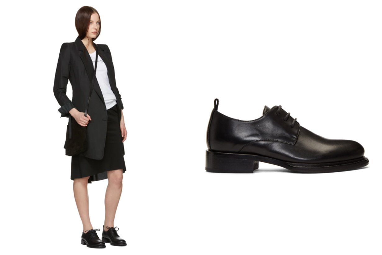 Ann Demeulemeester Black Leather Oxfords