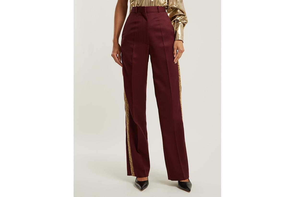Bathorea Faux Snake-Trimmed Wool-Blend Trousers
