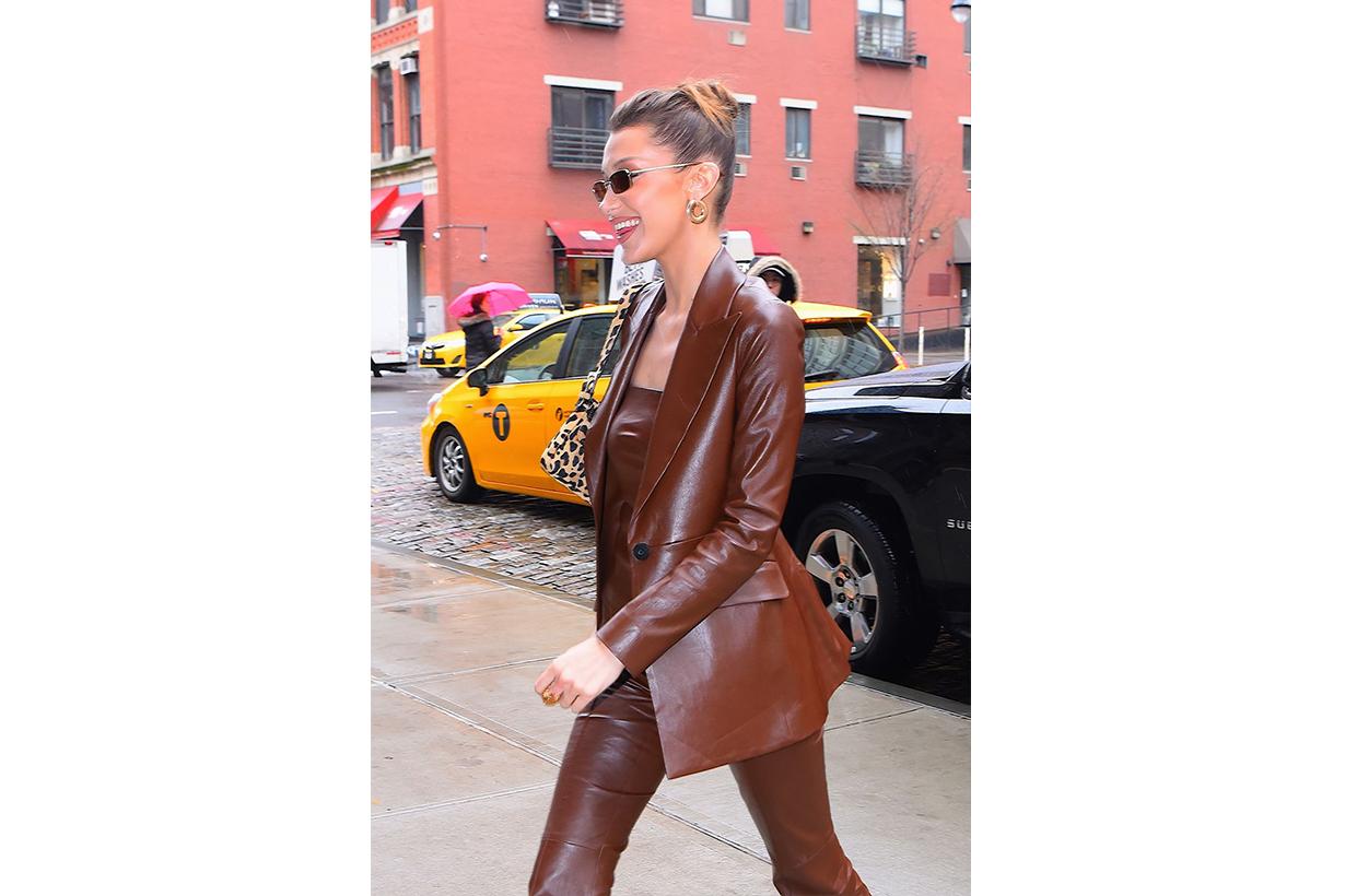 Bella Hadid Leather Blazer