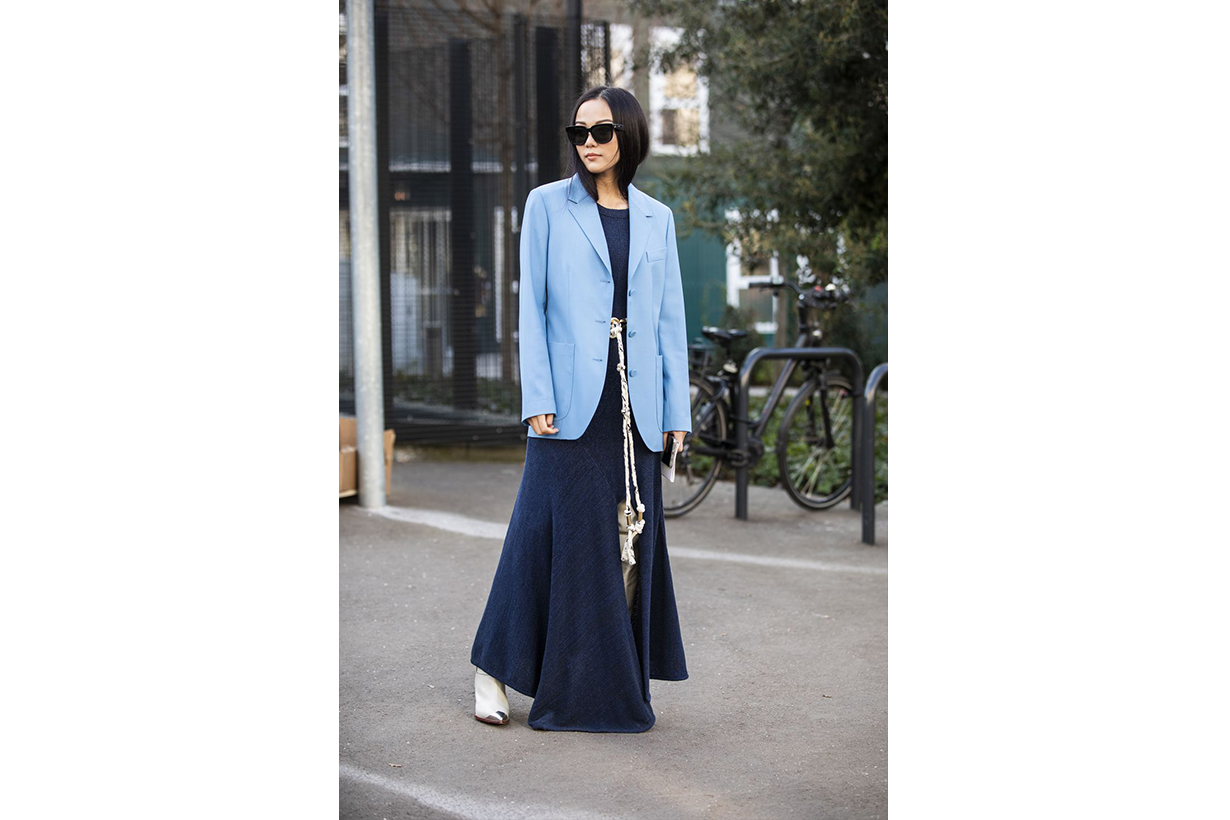 Yoyo Cao Blue Blazer Street Style