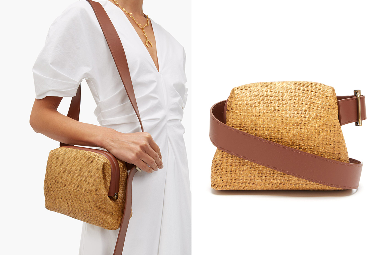 Brot Mini Raffia and Leather Cross-Body Bag