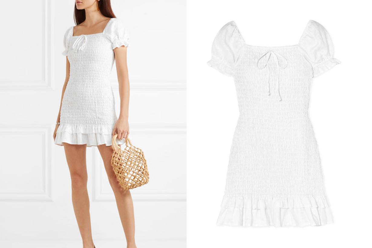 Cette Ruffled Shirred Linen Mini Dress