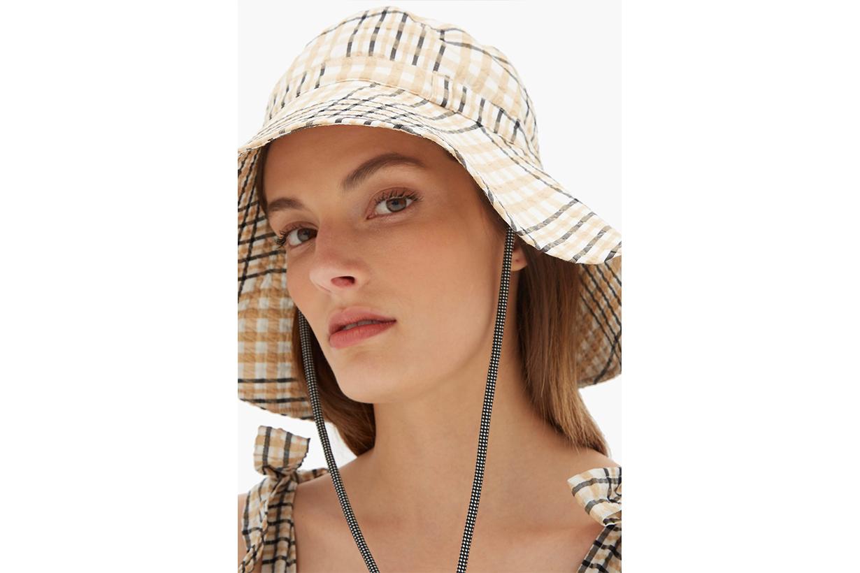 Ganni Checked Seersucker Bucket Hat