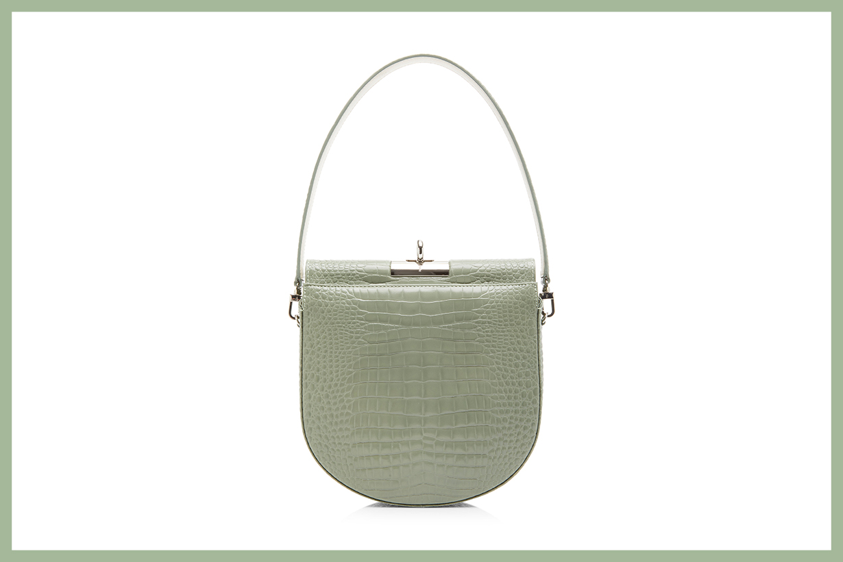 gu_de Demi Lune Small Croc-Effect Leather Bag