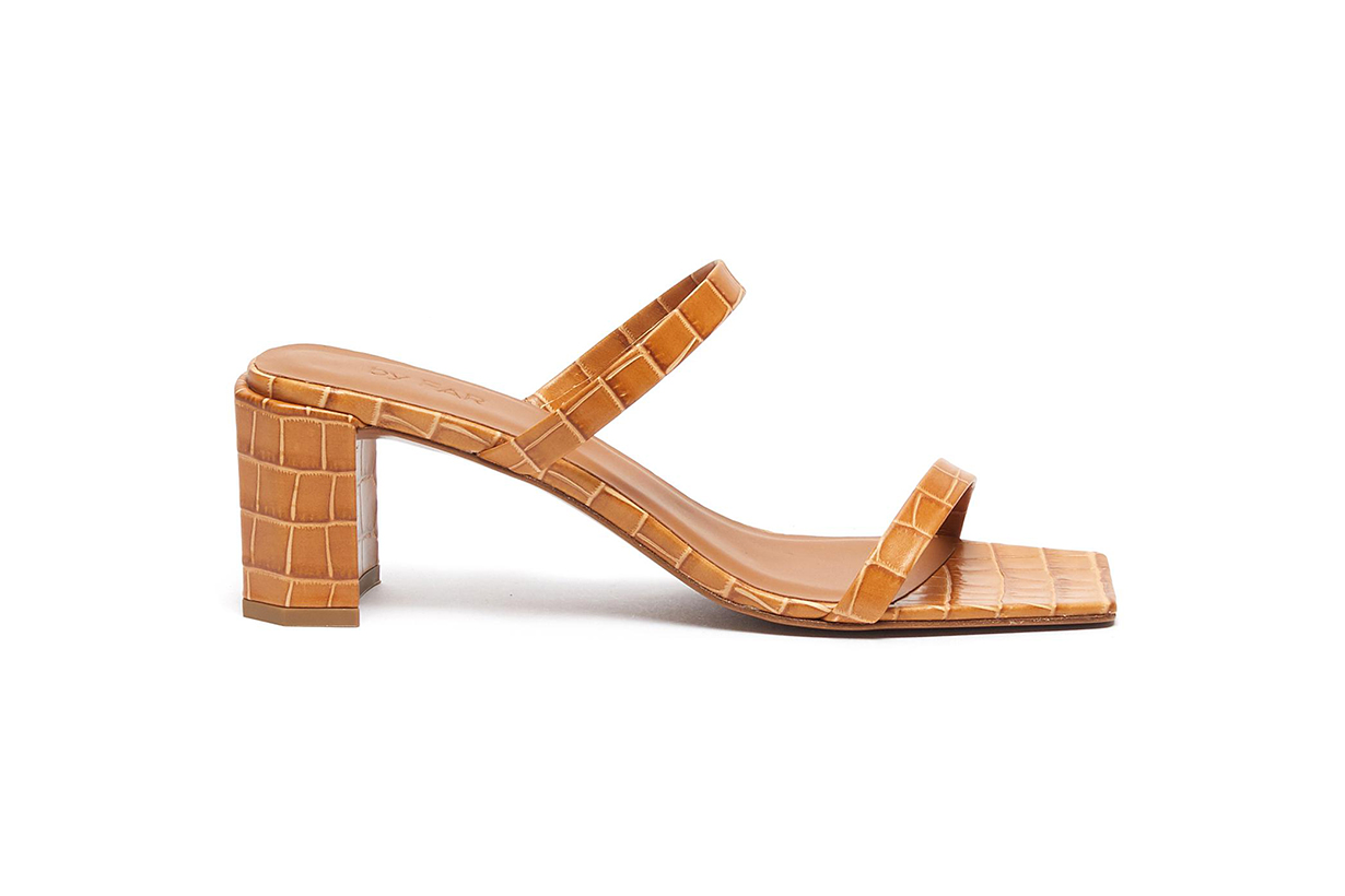 Croc-Embossed Leather Sandals