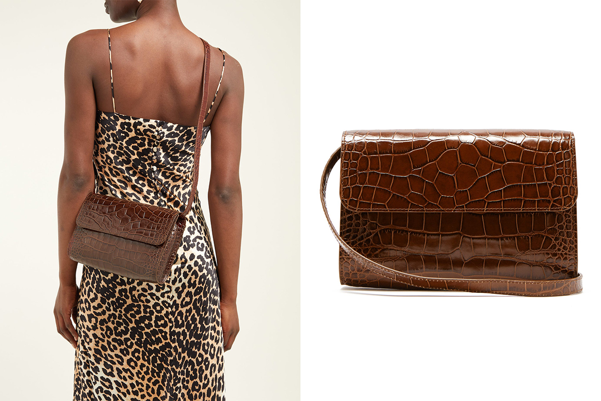 Crossover Crocodile-Effect Leather Shoulder Bag