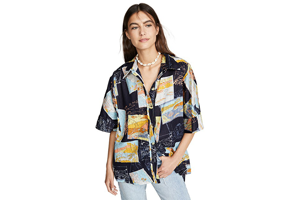 Free People Love Letters Button Down Shirt