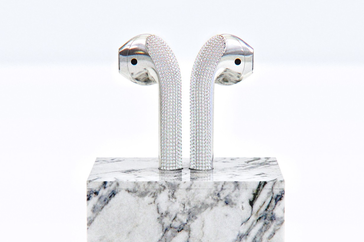 apple airpods custom diamond designer Ian delucca art gold marble