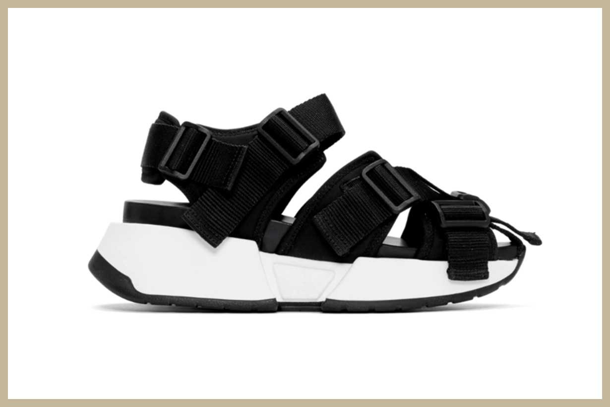 MM6 Maison Margiela Black Safety Strap Platform Sandals