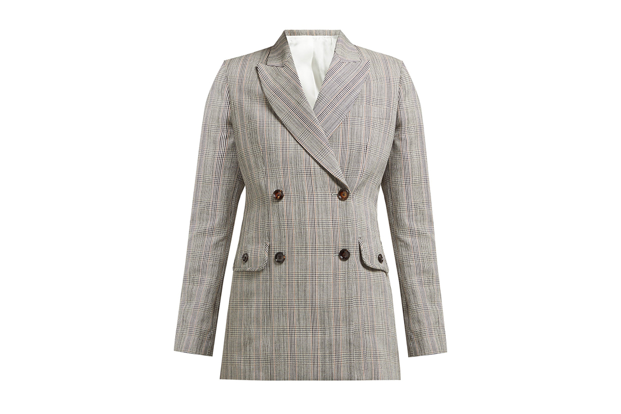 Moore Double-Breasted Cotton-Blend Check Blazer