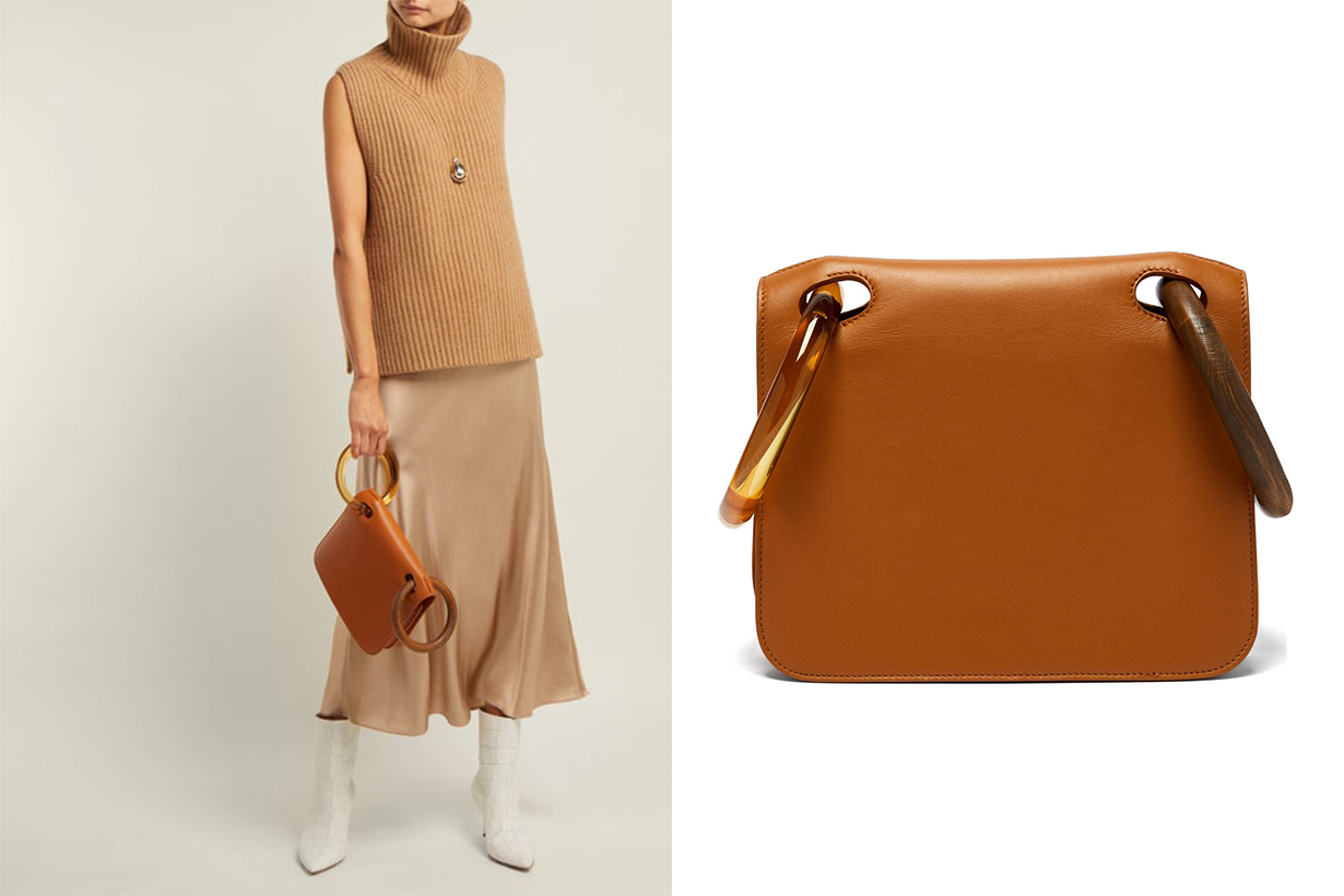 Neneh Wooden-Handle Leather Clutch