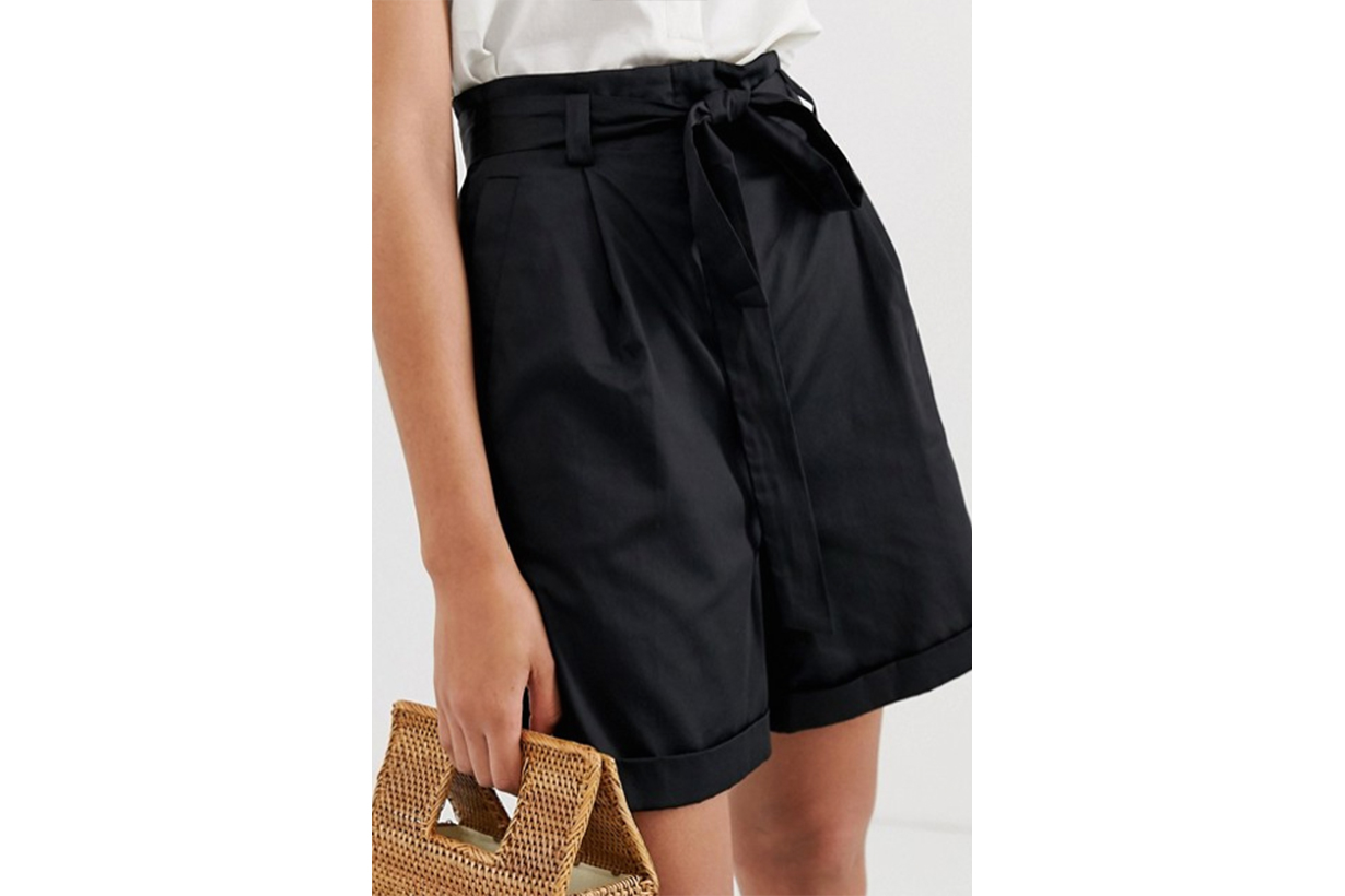 & Other Stories High Waisted Tie Shorts in Black