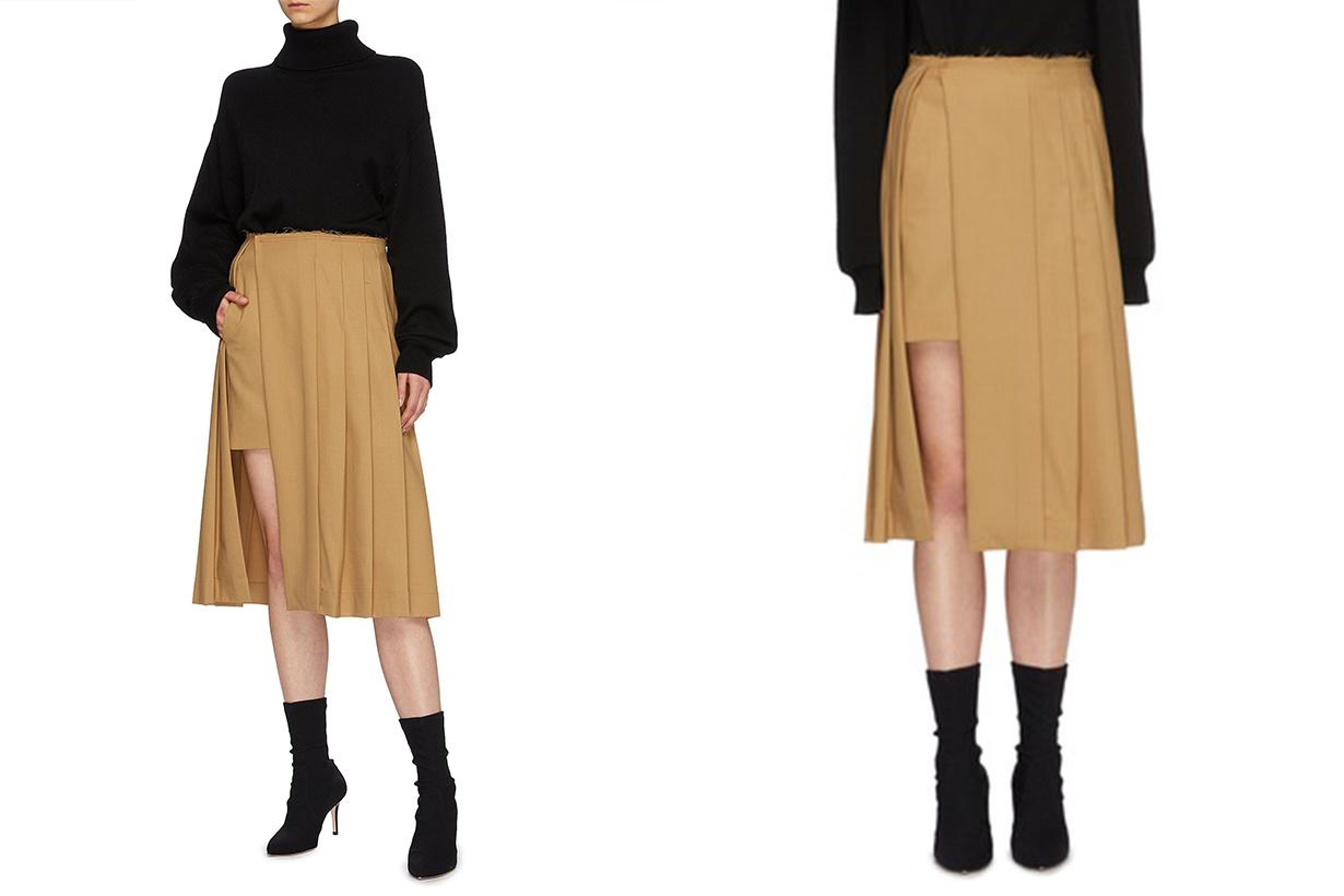 Pleated Overlay Twill Skirt