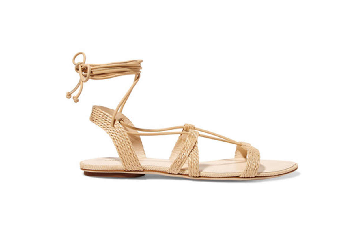 Sienna Woven Raffia and Leather Sandals