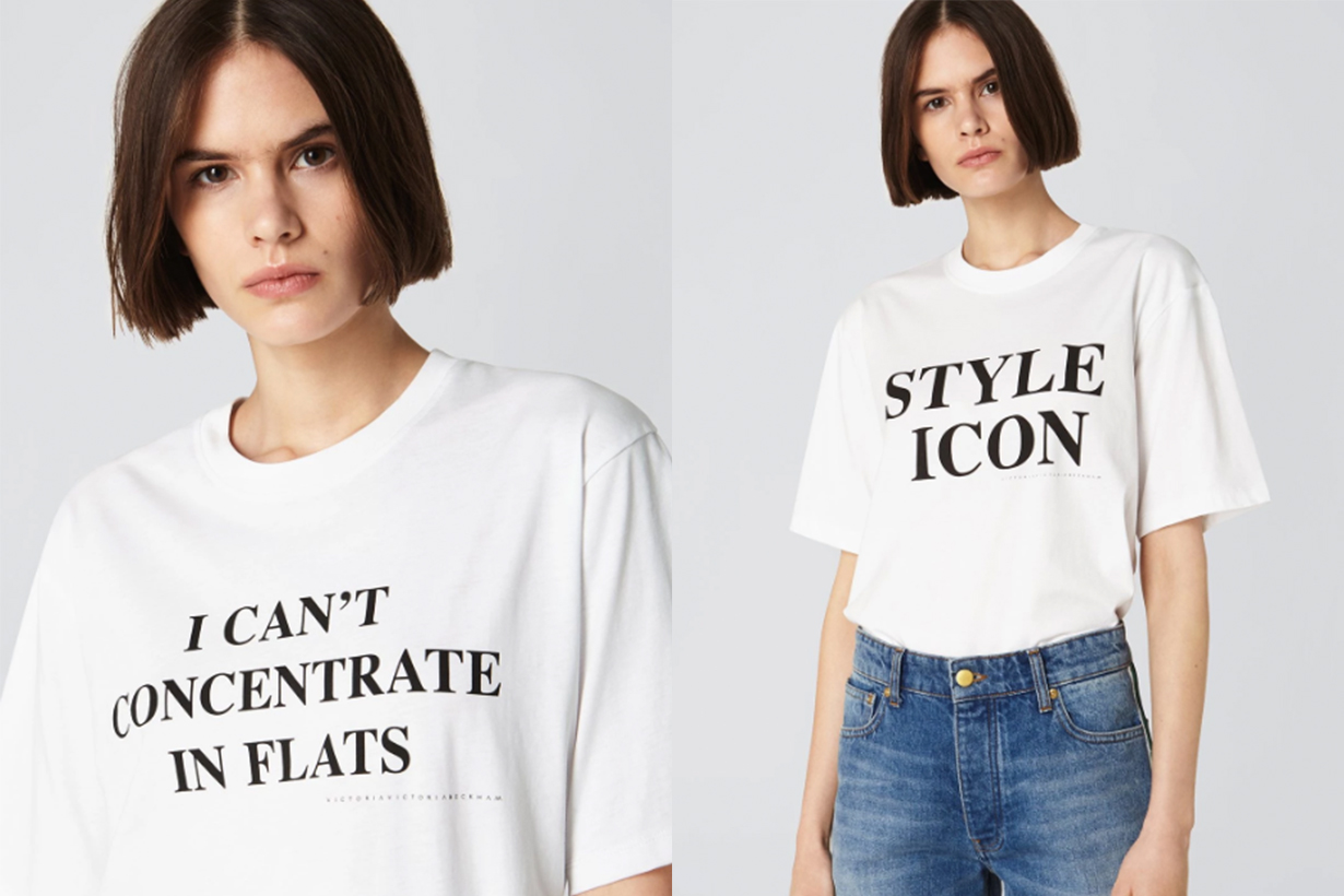 "Victoria Beckham White Tee ""I Can't Concentrate In Flats"", ""Style Icon"""