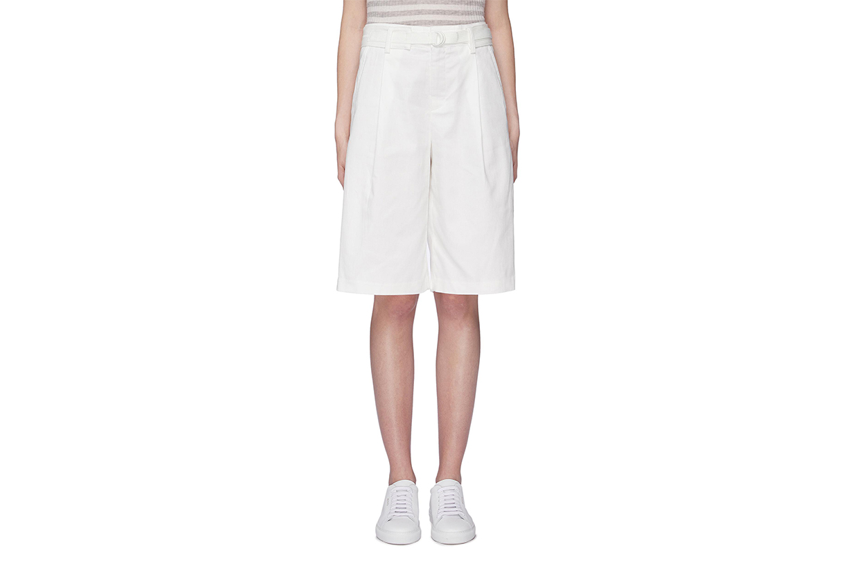 Vince Belted Oversized Cotton Linen Shorts