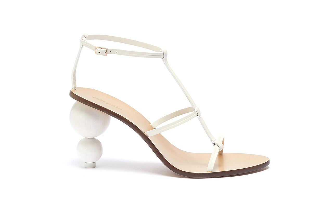 Wooden Ball Heel Leather Sandals