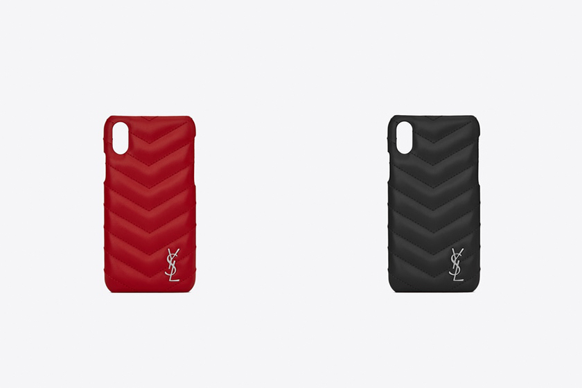 Saint Laurent Lou Quilted Leather iPhone Case Black Red
