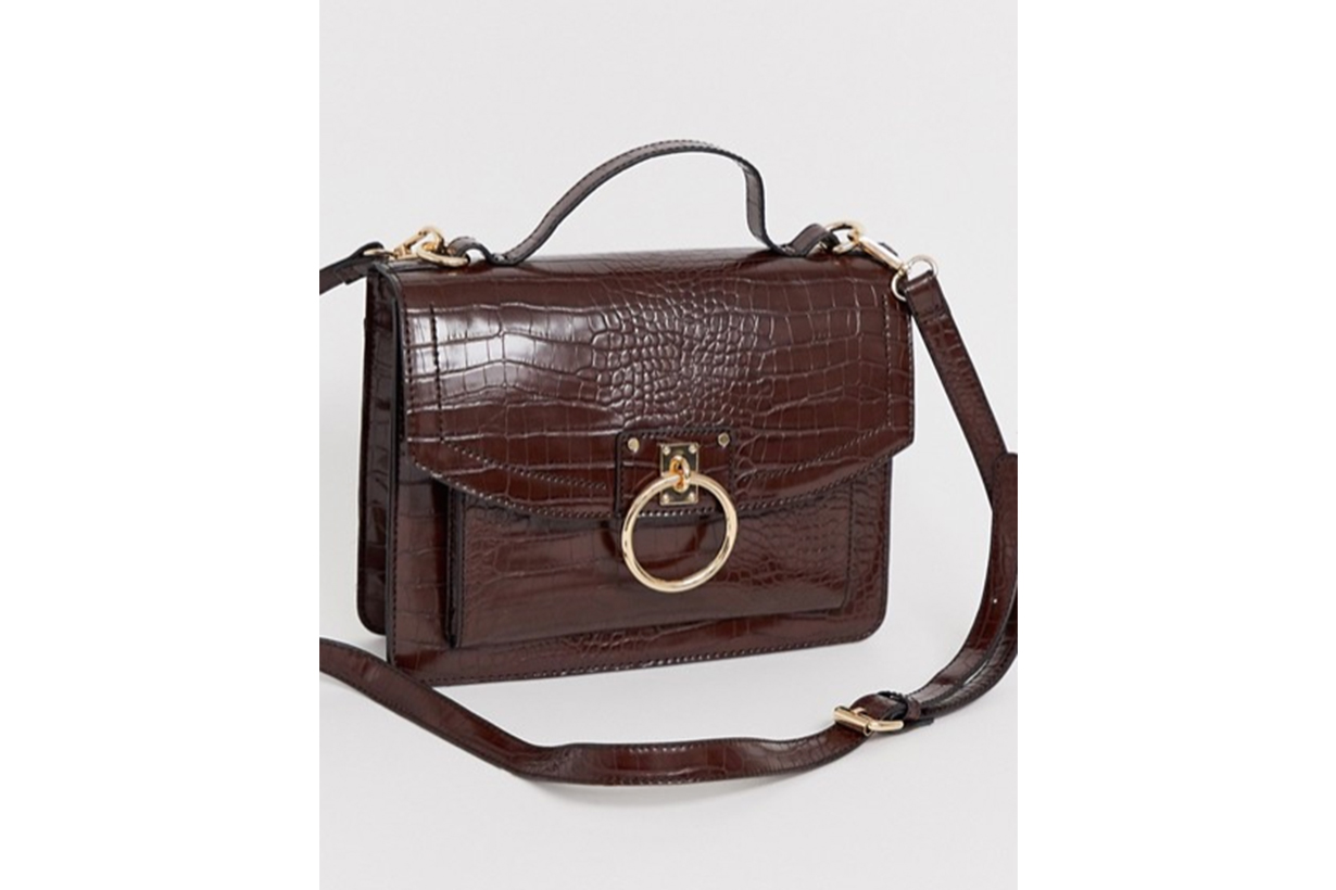ASOS DESIGN Croc Satchel with Ring Detail