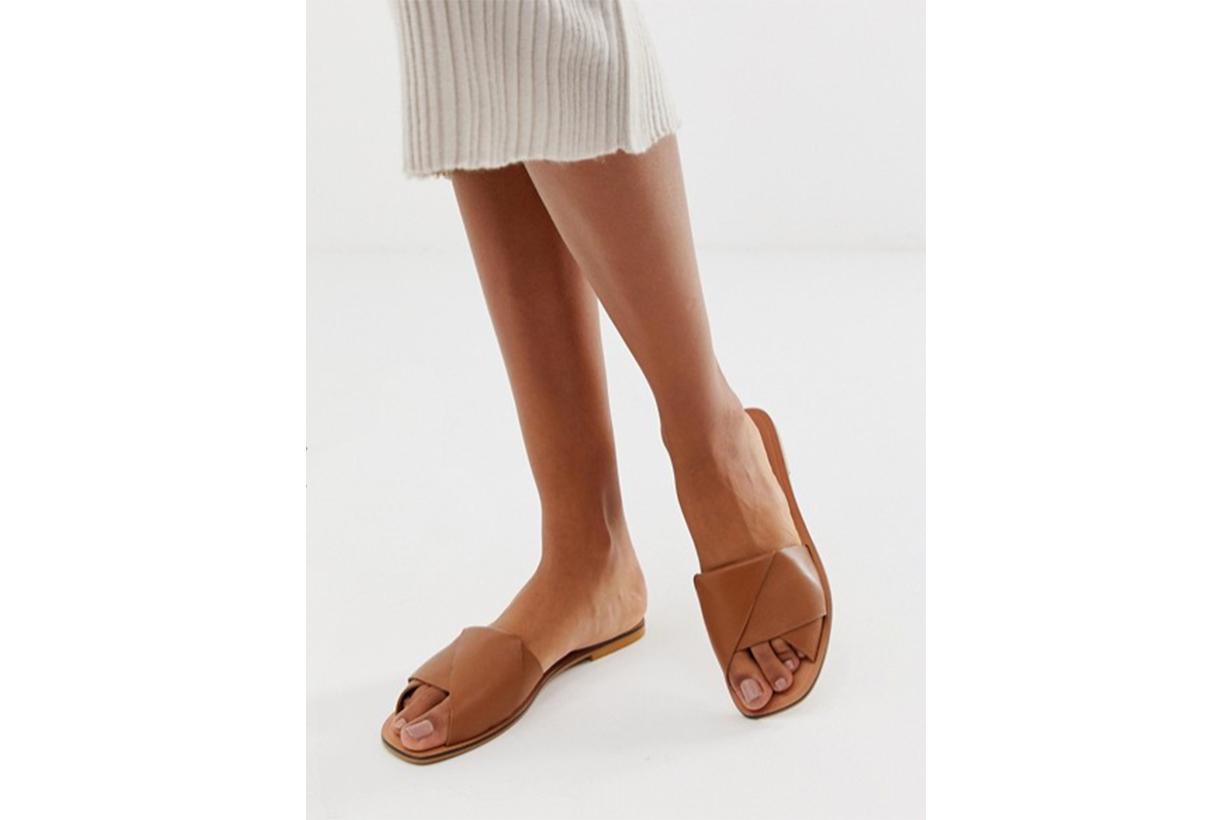 ASOS DESIGN Favoured Leather Flat Sandals