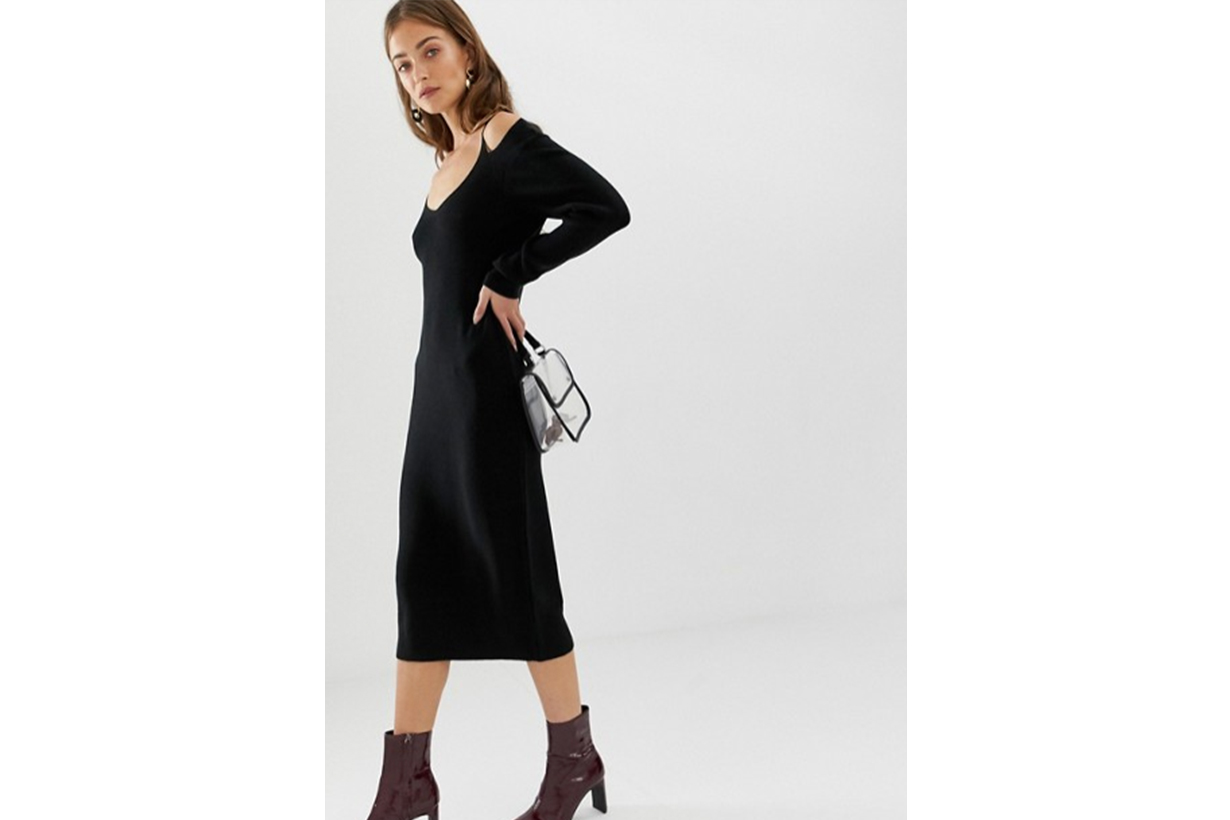ASOS DESIGN Midi Dress in Rib with Cut Out Neck Detail