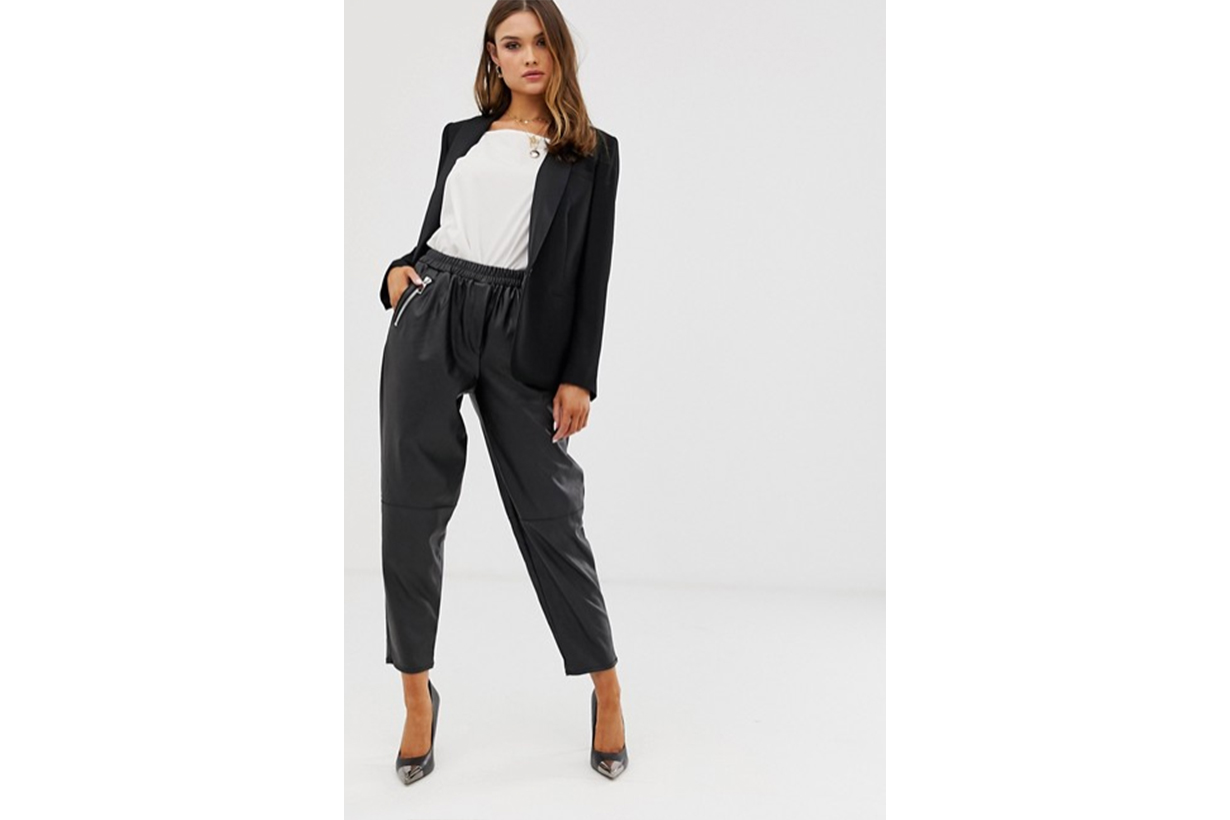 ASOS DESIGN Tapered Leather Look Trousers