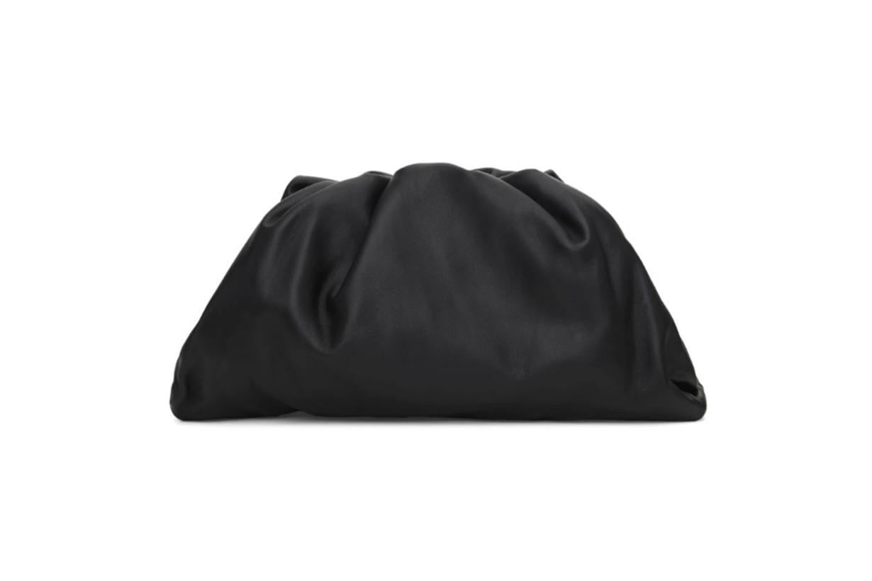 Bottega Veneta Black Oversized Smooth Leather Clutch