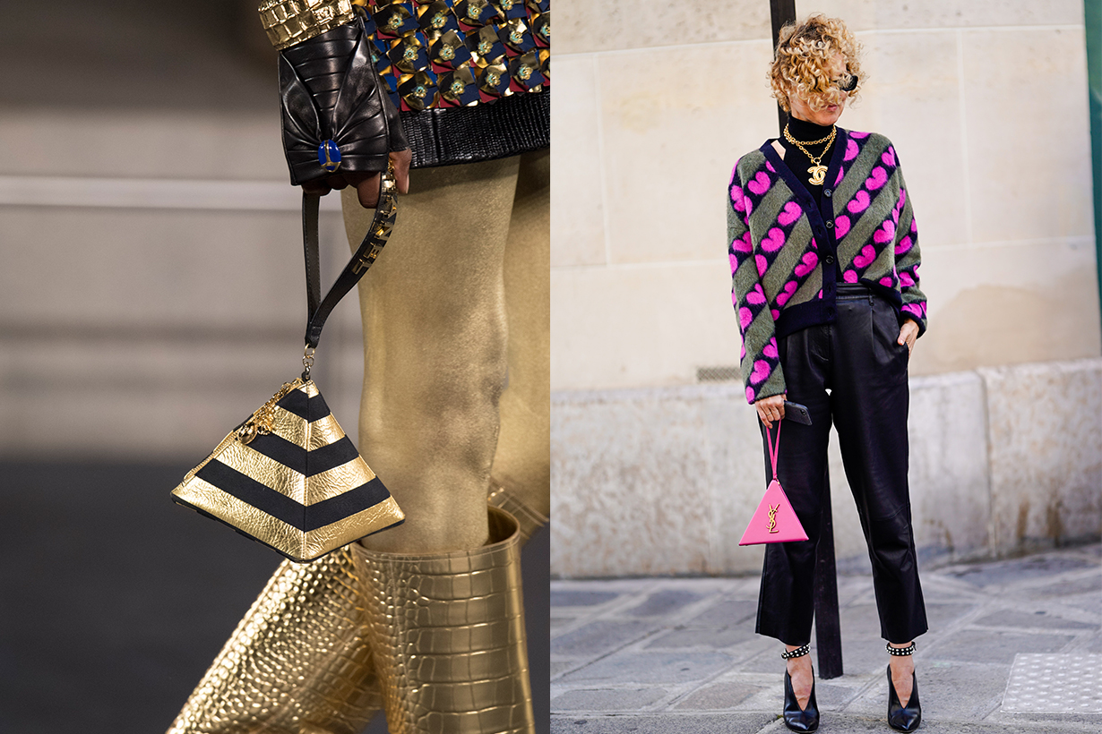 Chanel and Saint Laurent Pyramid Shaped Purses Runway Street Style
