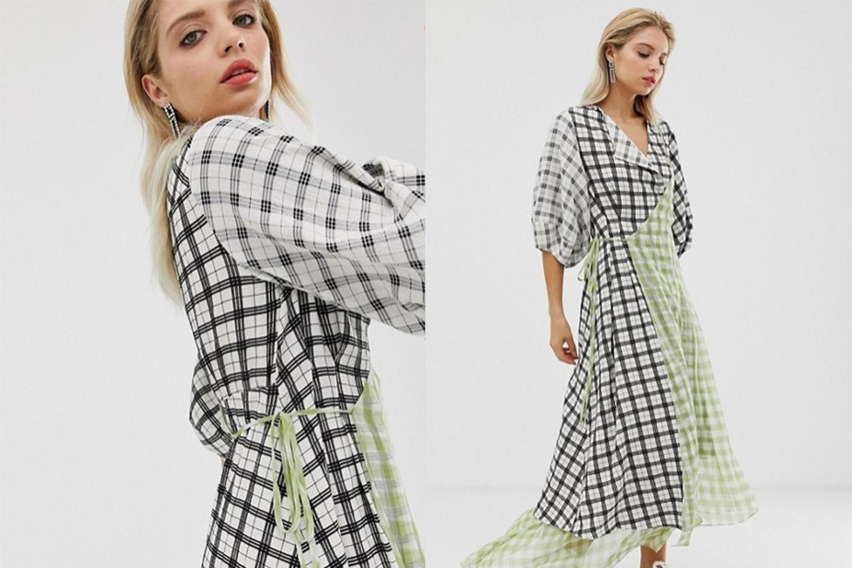 Check Wrap Dress