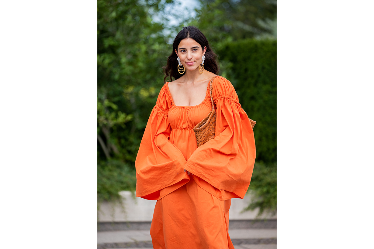 Statement Sleeves Orange Dress Street Style
