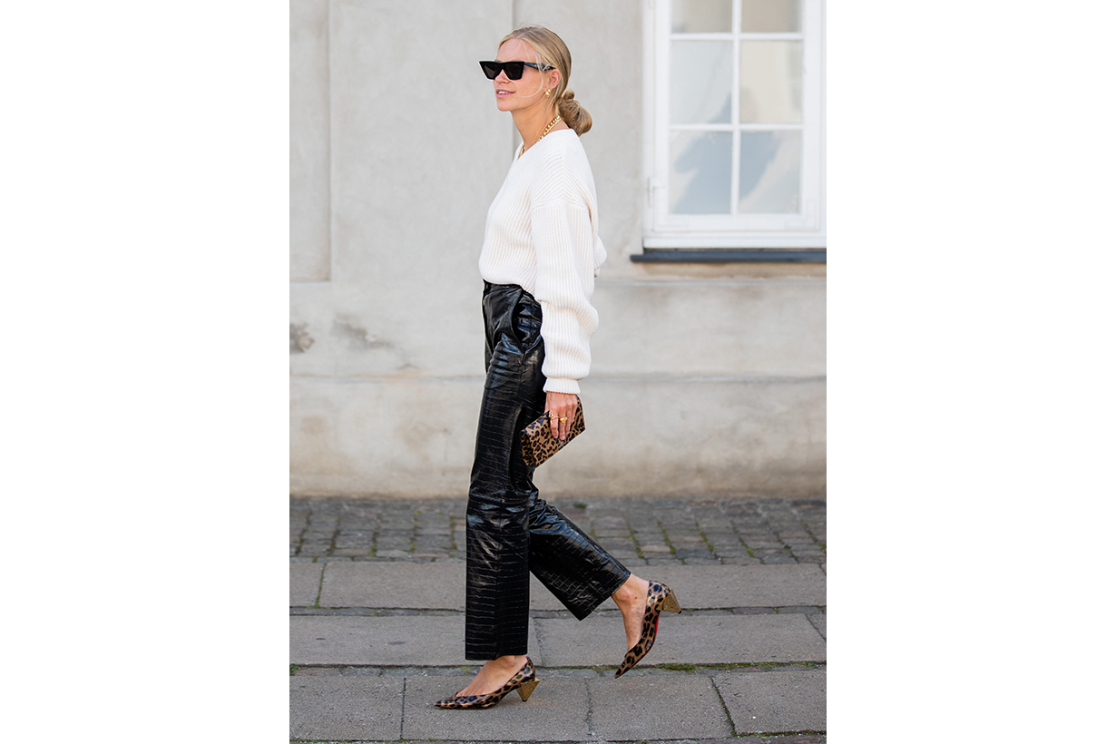 White Sweater Black Patent Leather Pants