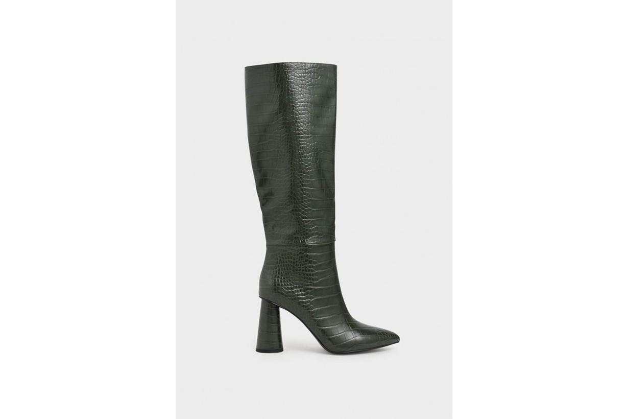 Croc-Effect Knee High Heeled Boots