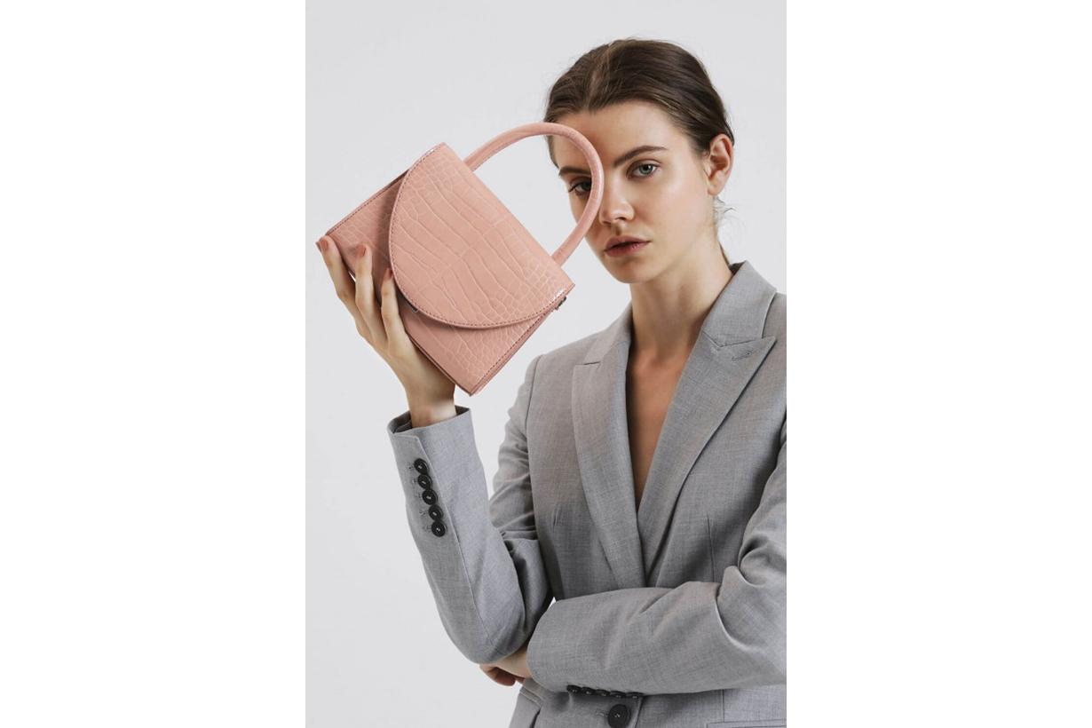 Croc-Effect Structured Top Handle Bag