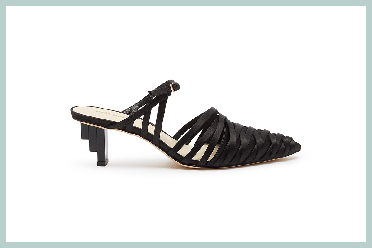 Cult Gaia Liora Staggered Heel Strappy Satin Mules