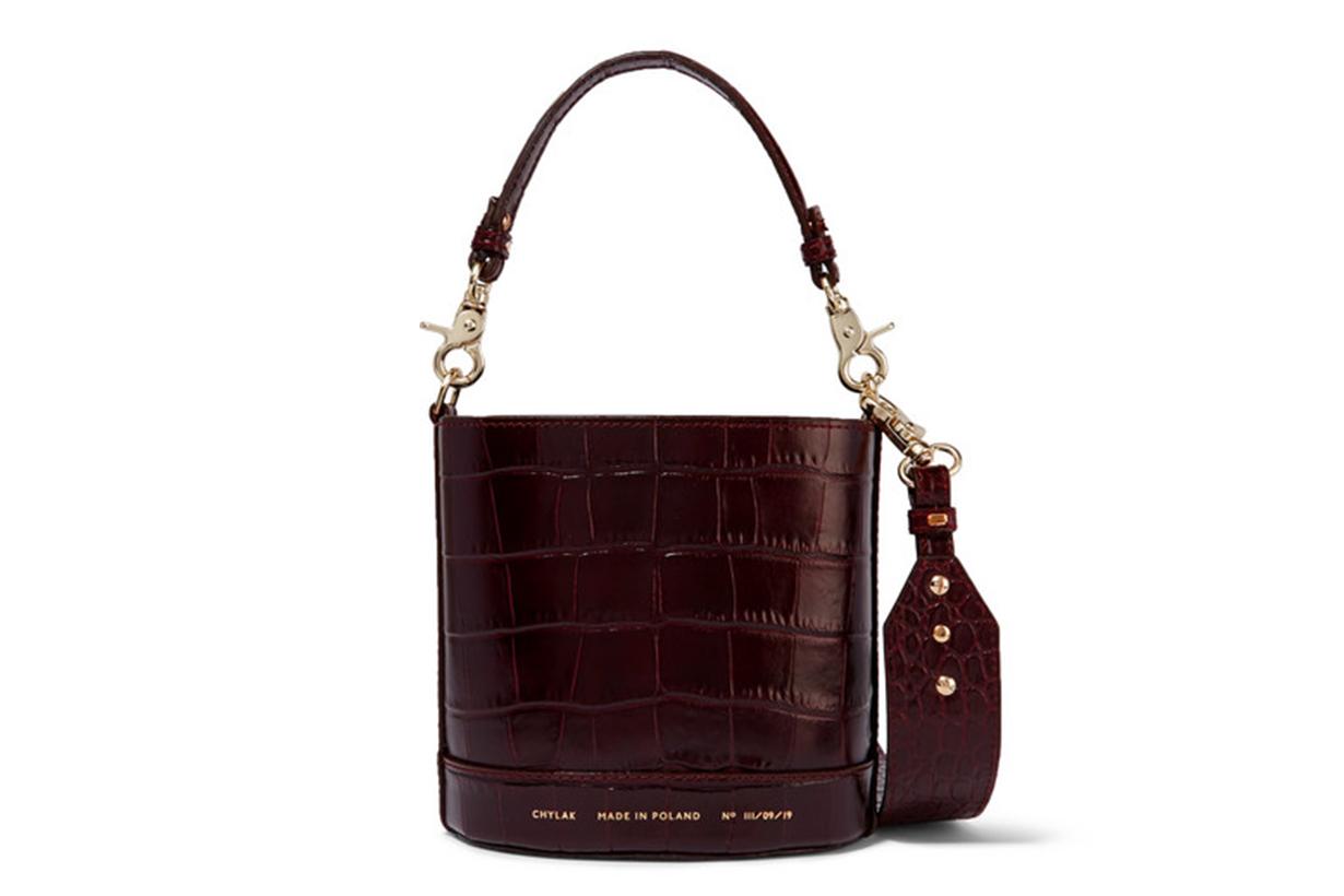 Cylinder Mini Glossed Croc-Effect Leather Shoulder Bag