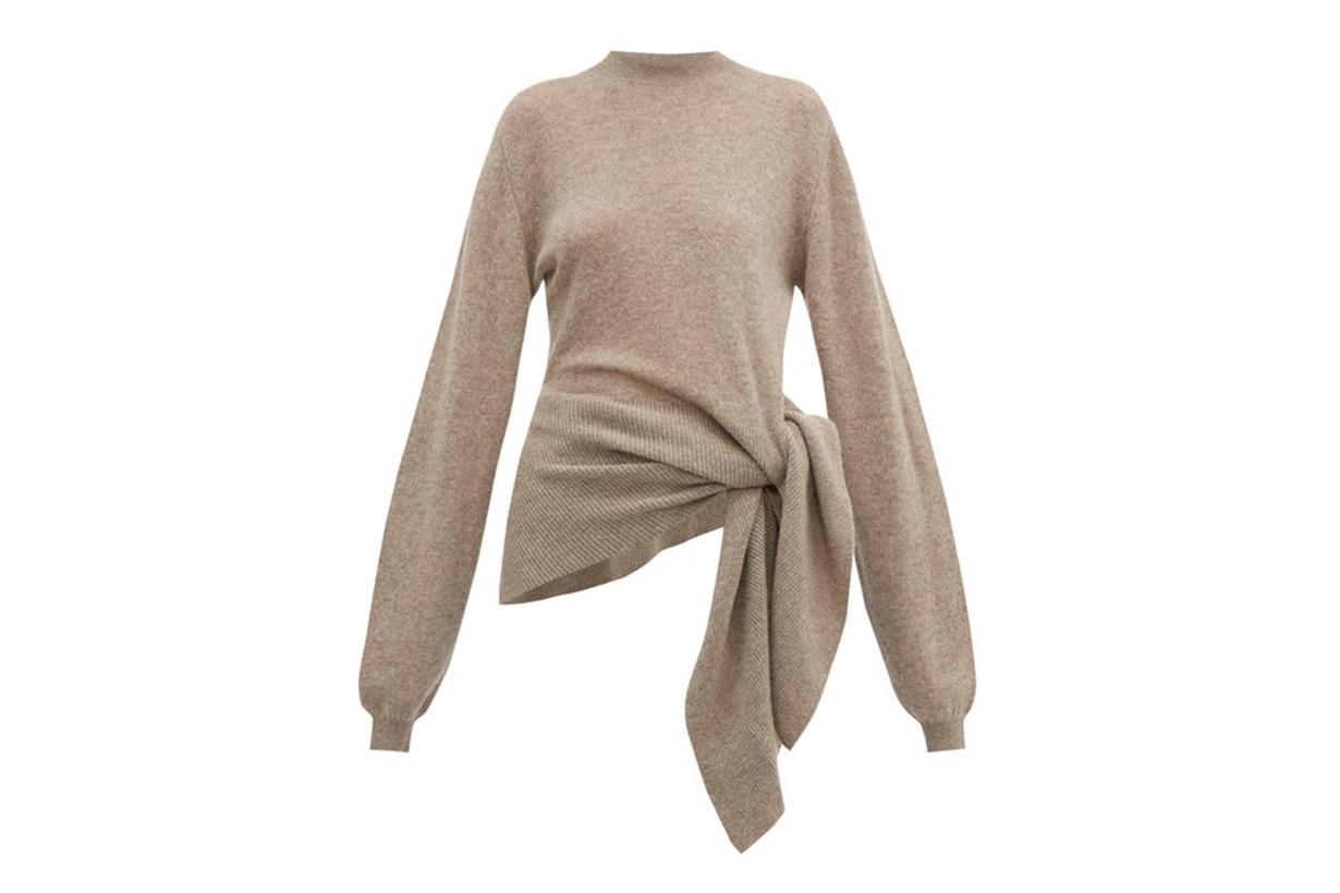 Esme Tie-Side Cashmere-Blend Sweater