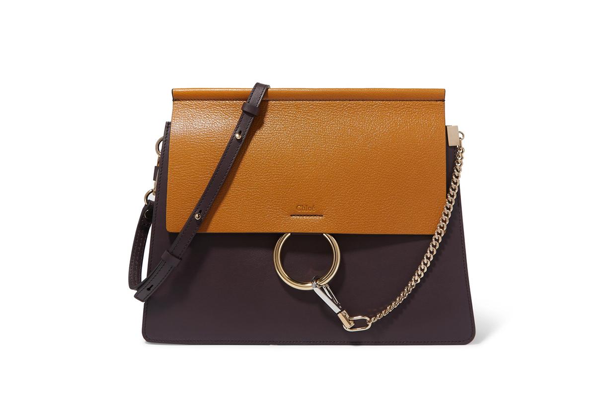 Faye Medium Two-Tone Leather Shoulder Bag