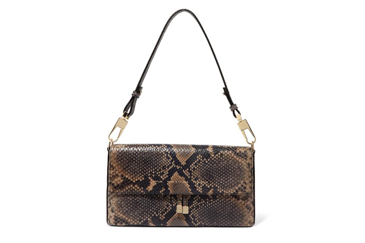 Flap Snake-Effect Leather Shoulder Bag