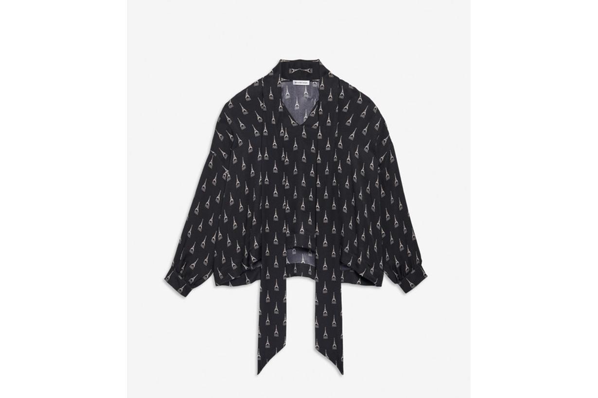 Fluid Vareuse in Black Printed Paris Silk Crepe